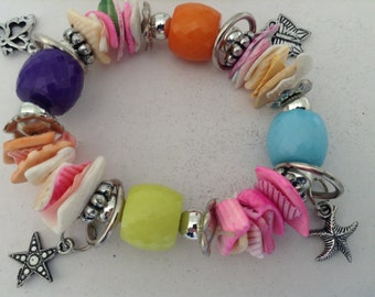 Vintage Charm Bracelet, vibrant and colourful, from the 1980s