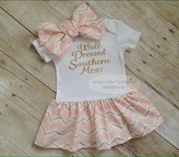 Well Dressed Southern Mess Dress, Custom Bodysuit Baby Dress and Self Tied Headwrap/Headband Set
