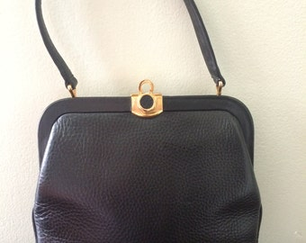 Black Bonwit Teller Leather Purse