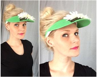 Green Visor Hat White Daisy Flower Vintage Summer Sun Beach Headband