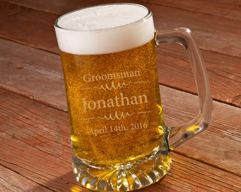 Groomsmen 25 oz Beer Mug - Personalized Beer Mug - Groomsmen Beer Mug Gift - Groomsmen Mug - GC1254