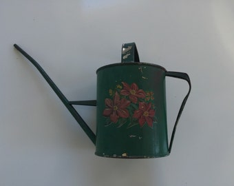 Vintage Painted Green Watering Can