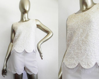 ivory sequin top \ wool vest \ beaded sleeveless top