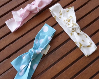 Top Knot Headbands: Gold birds, blue and blue spots - Set of 3