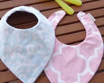 Baby bandana bibs: Damask and Quatrefoil - Set of 2