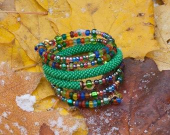Bead Bracelet in memory-wire