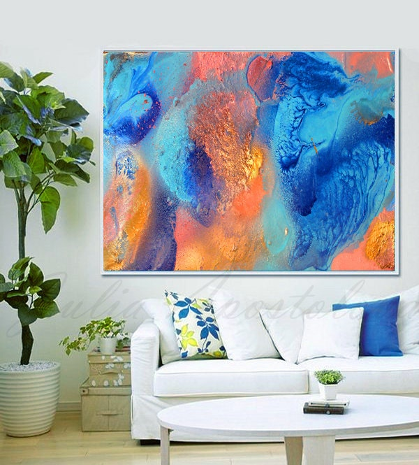Turquoise and orange teal decor abstract by juliaapostolova - Orange and teal decor ...
