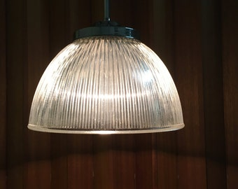 Authentic Holophane Pendant Light 40 Inch Two Available Mid Century Era