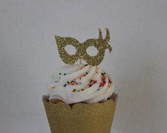 Masquerade Mask Cupcake Toppers - Set of 24 Birthday Party Decorations, Weddings or Bachelorette Cupcake Topper #2026