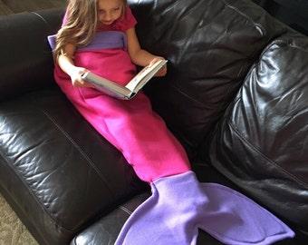 Super Soft Fleece Mermaid Tail Blanket! Pink Mermaid Tail with Purple Fin!