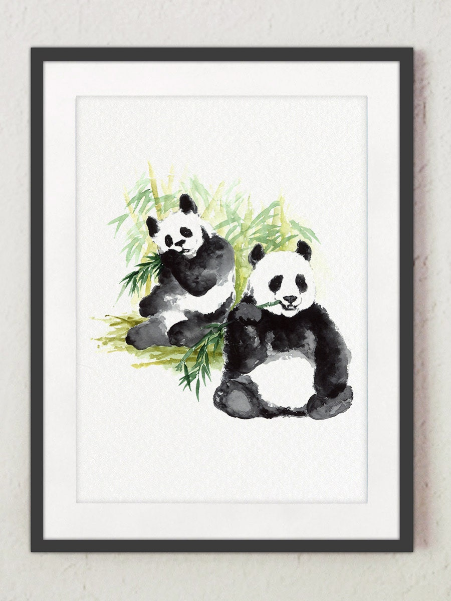 Panda Illustration Watercolor Bear Giclee Art Print Two