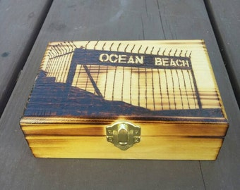 Custom woodburned keepsake box with ocean beach, CA pier gate engraved on cover 4x6x2.5