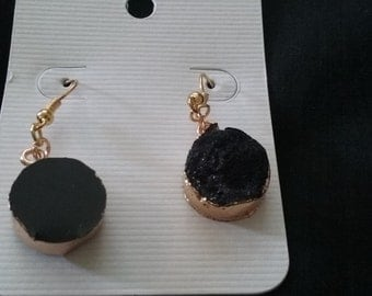 Black Drusy Stone Earrings,  Gold Plated Earrings, Faux Drusy Stone, Black Stone and Gold Earrings