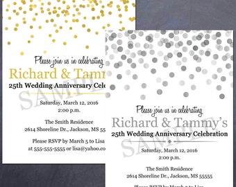 Printable Anniversary Party Invitation - 25th, 50th, celebration - silver, gold