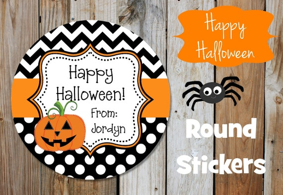 Halloween Stickers - Jack O Lantern - Set of 12 Round Labels - Chevron Stickers - Personalized Stickers