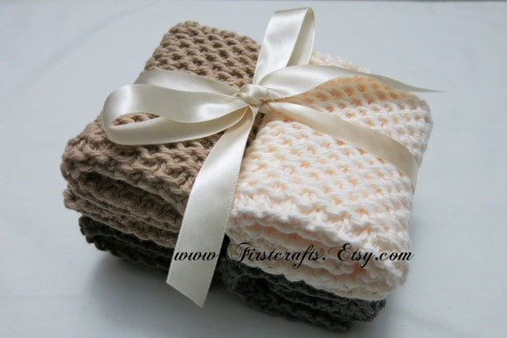 Knitted Wedding Gifts: Knit Washcloth-Natural Earth Tone Washcloth-Wedding