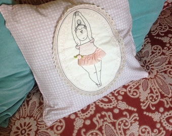 Pretty ballerina, pillows, free hand embroidery