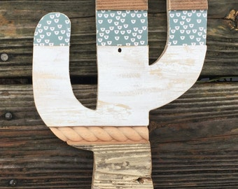 """wooden cactus ready to hang 12""""x6"""""""