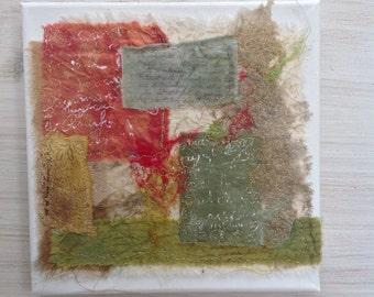 Mixed media box canvas textile wall art