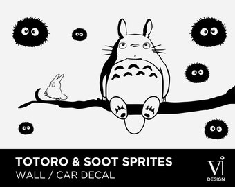 Totoro Wall Decal, Soot Sprite Wall Art, Chibi Totoro Branch Vinyl Sticker  - 840 x 450mm - Multiple Colours Available