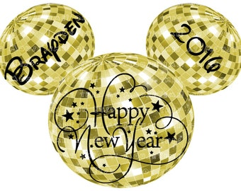 IRON-ON New Year's Eve Mickey Disco Ball Ears - Gold or Silver! - Mouse Ears Tshirt Transfer