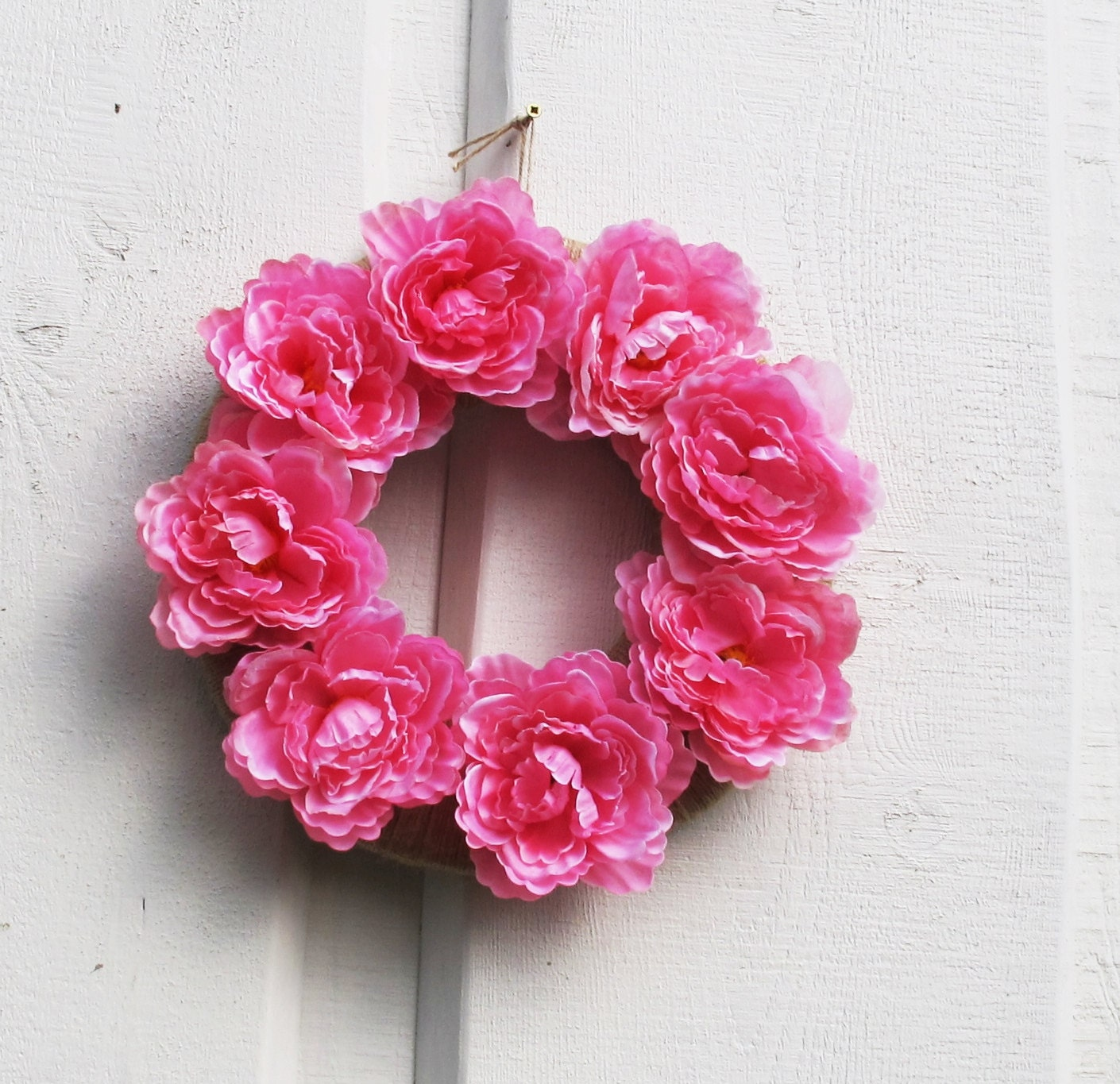 Pink Peonies Flowers Wreath Silk Peony Artificial Flower Wreaths Front Door  Decoration Table Centerpiece Summer Spring