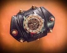 Dieselpunk Steampunk Cosplay watch with handmade genuine leather strap Winner