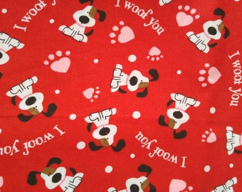 "32"" Puppy I Woof You Fabric, Fabric Remnant, Cotton Fabric, Valentine Fabric"