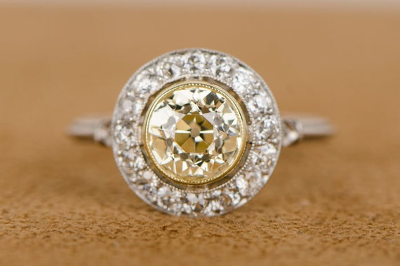 Fancy Yellow Old European Cut Diamond Engagement Ring