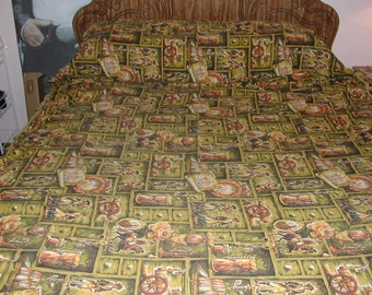 Vtg Sofa Couch Slip Cover Throw Early American Colonial Brown Gold Orange Yellow 130x48 Cotton