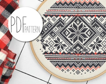 Norwegian cross stitch pattern NORWAY SWEATER modern winter cross stitch pattern, beginners holiday embroidery design instant download pdf