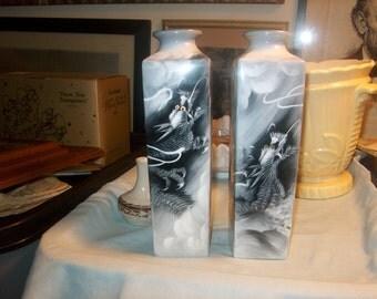 Two Vintage Asian Dragon Vases, Noritake, Bone China, Japan  (Price for both), WAS 40.00 - 40% =  24.00