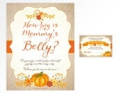 Little pumpkin Guess How Big is Mommy's Belly - orange and burlap printable baby shower game - INSTANT DOWNLOAD