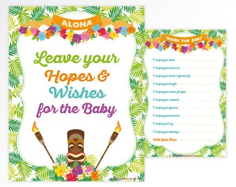 Hawaiian luau Wishes card and sign - tropical baby shower printable game - INSTANT DOWNLOAD