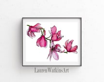 Many Magnolias - Magnolia watercolor illustration print - Pen and ink illistration- Pink -  floral botanical painting
