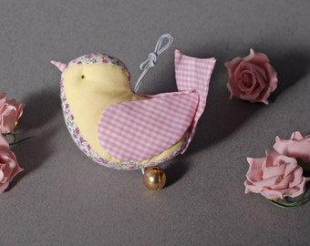 Decorative Soft Handmade Bird Ornament with a Bell / Stuffed ornament / Bird Ornament / Xmas Decoration / Handmade Bird Wall Decoration