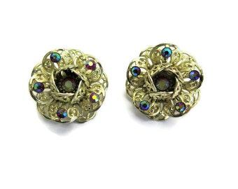 Vintage Earrings Gold Tone Filigree Flower Clip On With Aurora Borealis Rhinestones By Designer Sarah Coventry