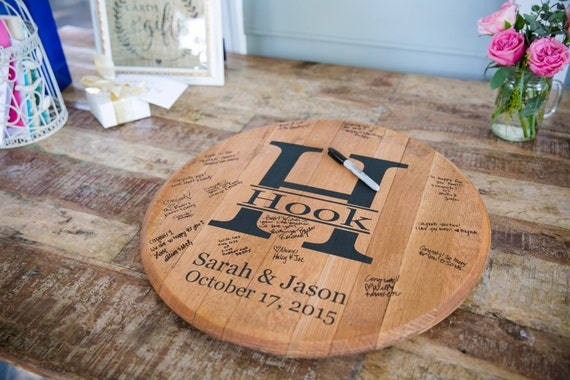 Personalised Wedding Gifts For Guests: Bourbon Barrel Head Personalized Wedding Guest Book