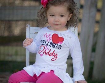 My heart belongs to daddy embroiderd girls Valentine's Day shirt cute red and pink hair bow