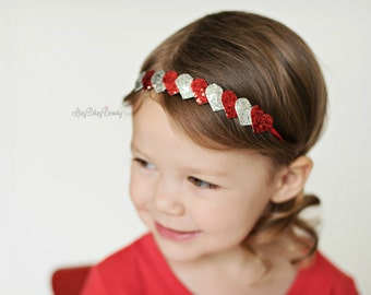Girls heart headband headband silver and red valentines day glitter fabric hair accessory