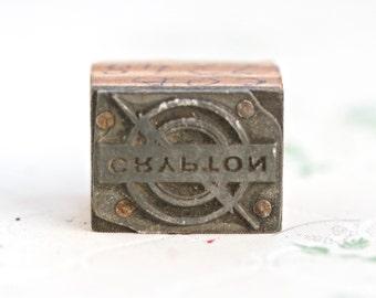 Crypton - Old Letter Press Print Block - Yamaha Logo Vintage Stamp