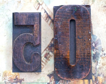 50 - Old Letter Press Print Blocks - Number 5 and 0 - Altered Arts Assemblage