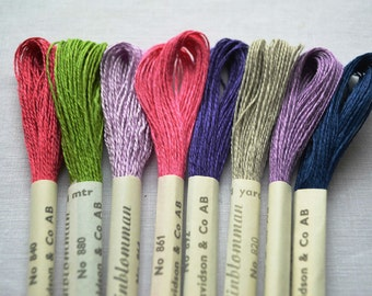 3 skeins of vintage linen Linblomman embroidery thread, now 4 colours to choose from