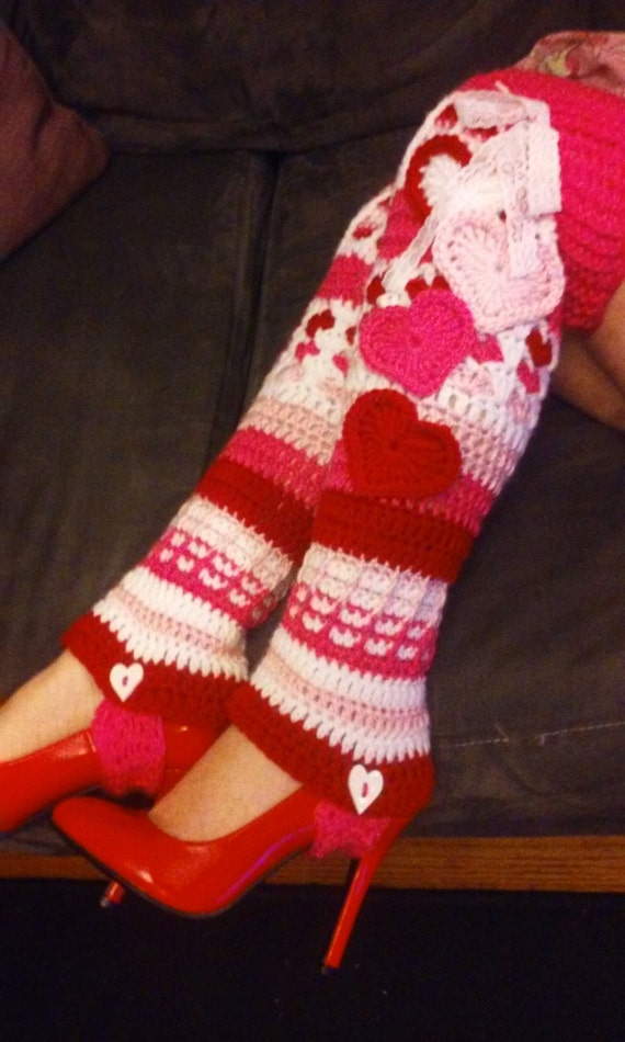 PDF PATTERN ONLY Crochet Lots of Love Stirrup Legwarmers Instant Download Val...