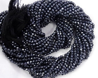 Big Sale 50 % Off Full 13 Inch Strand 5 Strand Lot BLACK SPINEL Silver Mystic Coated Faceted Rondelle Beads 3 mm.
