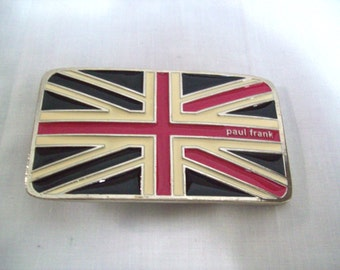 Paul Frank Enamel and Metal British Flag Belt Buckle / United Kingdom Flag Belt Buckle / Designer English Flag Belt Buckle