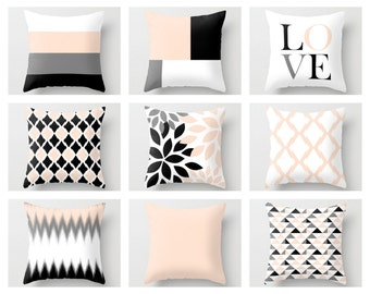Throw Pillow Covers, Blush Peach Pink Pillow Covers, Whispering Peach Decor, Black Grey White Blush, Cushion Covers Decorative Pillows