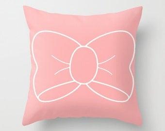 Pillow Case, Nursery Pillow Cover, Throw Pillow Cover, blush pillow cover, Nursery Decor, Decorative Pillow Cover, Accent Pillow, Bow Pillow
