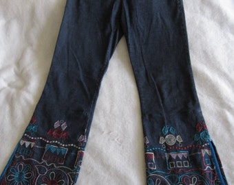 SALE! Vintage Voyage Passion Embroidered Hippie Boho Elastic Jeans S M