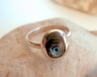 Silver & Abalone Ring - Sterling